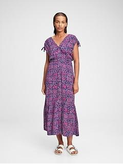 Ruched Shoulder Maxi Dress