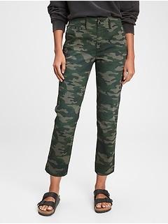 Pantalon kaki droit extensible à taille haute