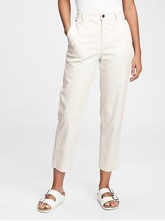 Pantalon kaki, coupe tonneau, à taille haute