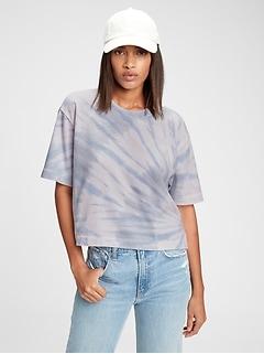 Boxy Cropped Tie-Dye T-Shirt
