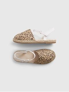 Kids Leopard Print Espadrille Sandals
