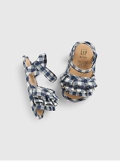 Sandales en guingan à volants pour Bébé