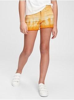 Kids Tie-Dye High-Rise Denim Shortie Shorts with Stretch