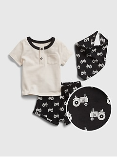 Baby 100% Organic Cotton Truck Outfit Set