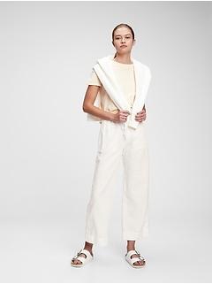 Pantalon à jambe large à taille haute en lin et en coton