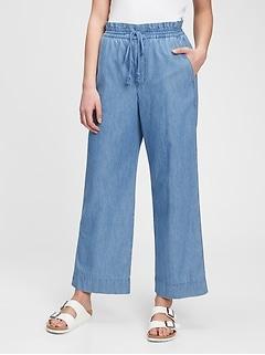 Pantalon à jambe large et à taille haute en chambray