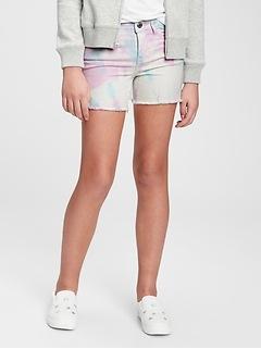 Kids Midi Tie-Dye Denim Shorts with Stretch