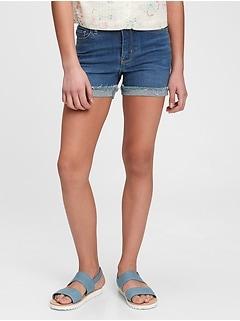 Kids Gen Good High Rise Denim Shortie Shorts with Stretch