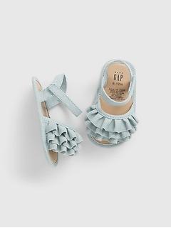 Sandales en chambray à volants pour Bébé