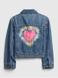 Kids Heart Tie-Dye Denim Jacket