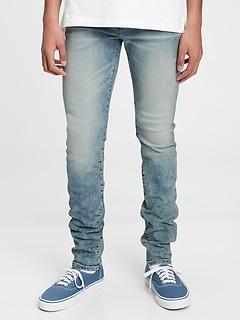 Jean moulant extensible, plissé à la cheville pour Adolescente