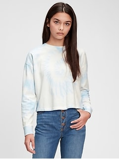 T-Shirt trois quarts en coton biologique teint par nœuds pour Ado