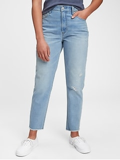 Teen Distressed Sky High-Rise Mom Jeans