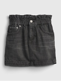 Kids High-Rise Paperbag Waist Denim Skirt