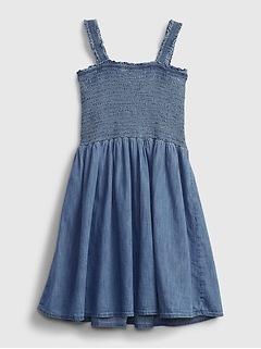 Kids Denim Smocked Dress