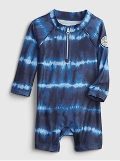 Maillot de bain une-pièce court en tissu recyclé à imprimé teint par nœuds pour Bébé
