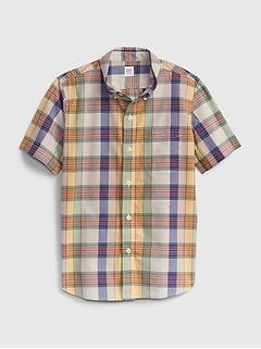 Kids Poplin Plaid Shirt