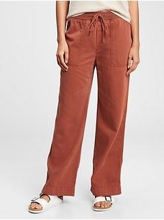 Pantalon côtelé à jambe large à enfiler en Modal TENCEL™
