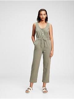 Sleeveless Button-Front Jumpsuit