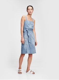 Button-Front Apron Dress