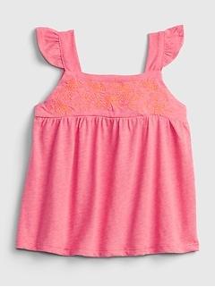 Toddler Flutter Embroidered Top