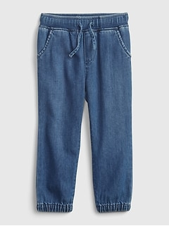 Toddler Pull-On Denim Joggers with Washwell™