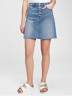 High Rise Distressed Denim Skirt with Washwell™