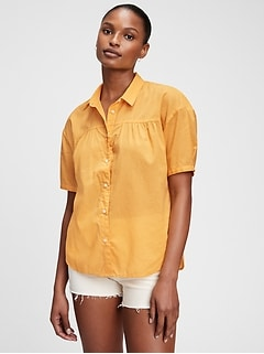 Shirred Button-Front Shirt