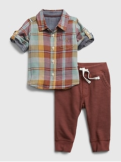Baby Plaid Outfit Set