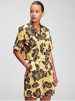 Cropped Print Shirt