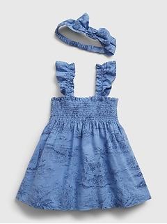 Tenue avec robe à motif de palmiers pour Bébé