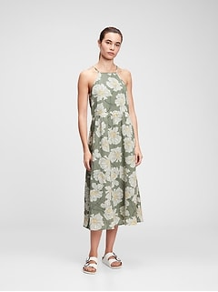Halter-Neck Midi Dress