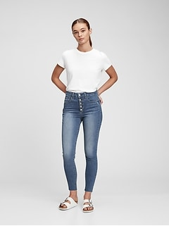 High Rise Distressed Universal Jegging with Secret Smoothing Pockets