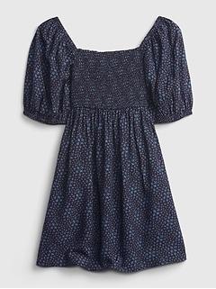 Kids Smocked Print Dress