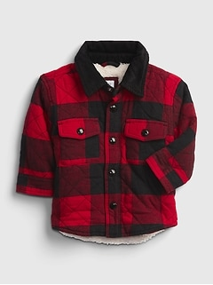 Baby Sherpa Lined Flannel Shirt Jacket