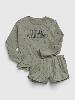 Kids 100% Recycled Polyester Star Graphic PJ Set