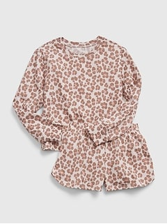 Kids 100% Recycled Polyester Leopard PJ Set
