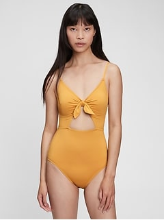 Recycled Tie-Front Cut Out Swim One-Piece