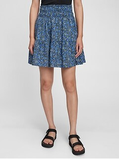 Smocked Waist Mini Skirt