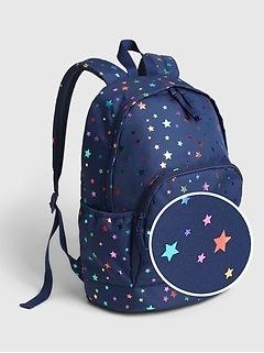 Kids Recycled Polyester Star Print Senior Backpack