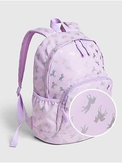 Kids Recycled Polyester Senior Unicorn Graphic Backpack
