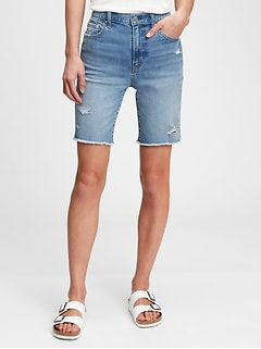 Mid Rise Relaxed Distressed Denim Bermuda Shorts with Washwell™