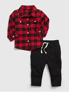 Baby Flannel Shirt Outfit Set