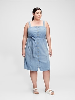 Button-Front Apron Dress with Washwell™