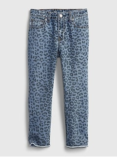 Kids Mid Rise Leopard Print Girlfriend Jeans with Washwell™