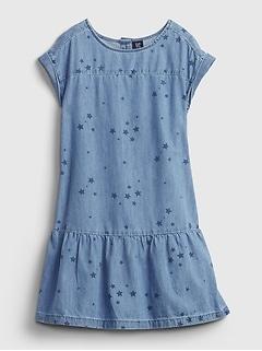 Kids Denim Star Print Dress