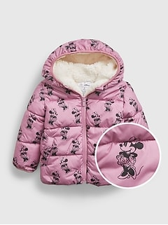 babyGap   Disney Minnie Mouse Reversible Sherpa ColdControl Max Puffer Jacket