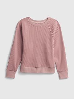 Kids Waffle-Knit Crewneck Sweatshirt