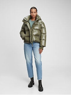 100% Recycled Polyester Heavyweight Cropped Puffer Jacket