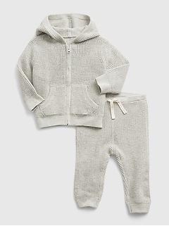 Baby Waffle-Knit Hoodie Set